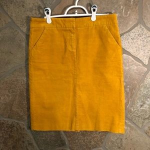 J. Crew mustard corduroy pencil skirt. Size 4